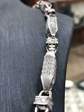 """925 SOLID Sterling Silver HEAVY SILVER CZ BLOCK CHAIN Necklace 32"""" - 7mm NEW"""