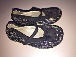 SILVER SLIPPER for J Crew Crew Cuts Sequin Ballet Flats Shoes Girls Size 8 👞b7