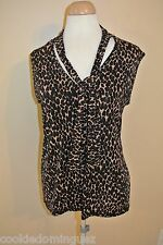 """Susan Lawrence Animal Print Sleeveless Casual Top Blouse SIZE Large L Chest 36"""""""