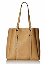 Calvin Klein NWT $168 Cashew Tan Tote Shoulder Bag Studs Novelty North/South