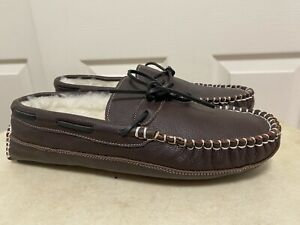 EDDIE BAUER LEATHER GENUINE SHEARLING SLIPPERS MENS US 13 NEW!