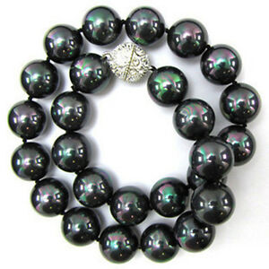 """Multi-colored 10MM Black South Sea Shell Pearl Necklace 18""""AAA+"""