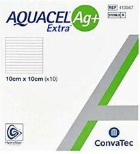 AQUACEL  ag+ extra   .10 each ,  hydrofiber dressings. 10cm x 10cm