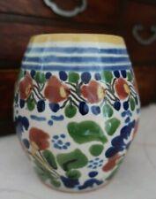 Mexican hand painted ceramic 12cm VASE signed Pueblo Mexico