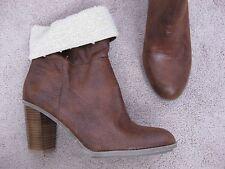 NICKELS DIstressed Brown w/ Faux Fleece Tops Ankle Boots w/ Heel ELISE 8 M  NEW
