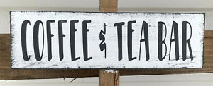 Rustic Wood Sign COFFEE & TEA BAR Farmhouse Kitchen Family 3.5x12 shelf sitter