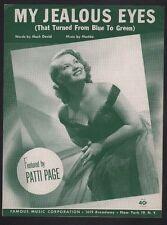 My Jealous Eyes 1953 Patti Page Sheet Music