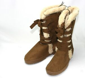 Tan Suede Ladies Boots with Natural colored Faux Fur lining and Lace Up Ribbons