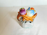 Vintage Lusterware Flower Frog Hand Painted Japan LOTUS FLOWER Figure Dove Mark