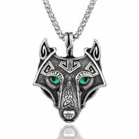 Norse Wolf Head Pendant Stainless Steel Viking Amulet Necklace Nordic Medalion