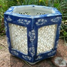 More details for a blue & white filigree hand painted oriental chinese janpanese planter pot vase