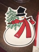 Fitz and Floyd Holiday Home Snowman Canape Plate Celebrate!