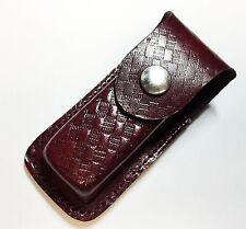 "Folding Pocket Knife Sheath 3.5"" Textured Brown Genuine Leather Belt Case Rex"