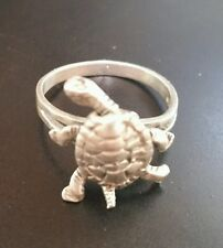 STERLING SILVER TURTLE RING MOVING PARTS SIZE 5.5 VINTAGE SIGNED 925 CUTE UNIQUE