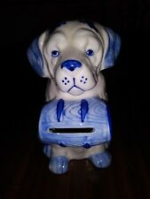 "Dog Bank in Blue & White Vintage 5"" Tall Hand Painted Delfts Blue"