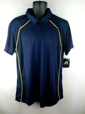 Russell Mens 2X 3 Button Pullover Polo Blue Short Sleeve w/Collar Nwt