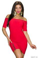 Sexy Carmen Kleid  Minikleid Kleid Cocktailkleid  Reißverschluss Rot  34 36 38