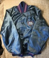 Vintage Bud Light Beer Nylon Jacket Bomber Men's Size M Blue