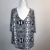 Worthington Women's Snakeskin Print Short Sleeve Blouse Shirt Plus 1X Black