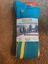 Danish Endurance Alpine Ski Performance Knee High Socks Unisex Wool Blue Yellow