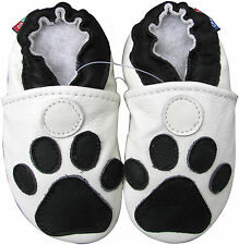 carozoo paw white 5-6y soft sole leather kid shoes
