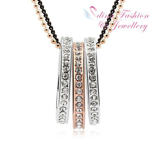 18K Rose & White Gold GP Made With Swarovski Crystal Triple Rings Long Necklace