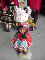 """Vintage Plastic Portugal Ethnic Girl Character Doll 7"""" Tall"""