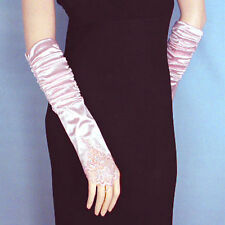 Shirred Satin Fingerless Gloves with Beaded Aplique (G189)