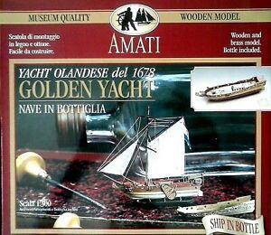 AMATI 1:300 KIT LEGNO E OTTONE  NAVE IN BOTTIGLIA GOLDEN YACHT DEL 1678 ART 1350