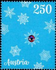 """Austria - """"SNOW FLAKES ~ CHRISTMAS"""" Unique Stamp with Swarovski Crystal 2017 !"""