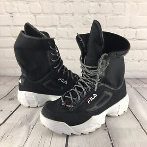 Fila Women's Disruptor Ballistic Boot Fashion Platform Boots Black Sz 10