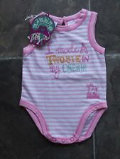 BNWT Baby Girl's Mambo Pink & White Cotton Knit Romper/Bodysuit Size 00
