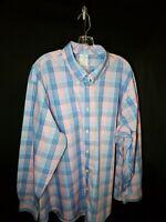 Brooks Brothers Regent Mens 2XL Button Front Shirt L/S  XXL 2XL Pink BLUE Plaid