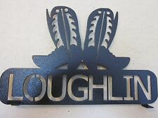 WESTERN BOOTS MAILBOX TOPPER METAL ART BLACK POWDER COAT (YOUR NAME)