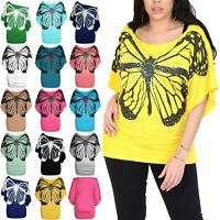 Plus Size Women Off the Shoulder Batwing Ladies Sequin Butterfly Side Ruched Top