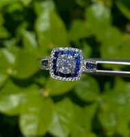 2Ct Round Cut Blue Sapphire Double Halo Engagement Ring 14K White Gold Finish