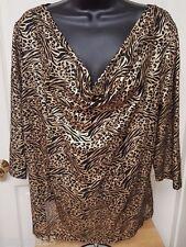 Blooming Rose Woman's Plus Gold/Black Zebra/Leopard Print Design Shirt Size 2X