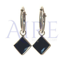 Genuine Sterling Silver - Small Sleeper Style Hoop Earrings with Black Stone -