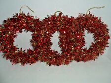 """Tinsel Wreaths Set 3 Red with Gold 9"""" Holiday Christmas"""