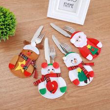 4Pcs Christmas Decor Snowman Kitchen Tableware Holder Bag Party Table Orname^P