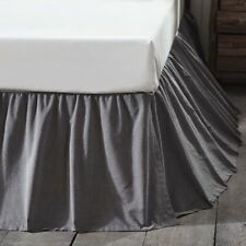 """Vhc Rustic Bed Skirt Dust Ruffle King Queen Twin Gray Cotton Gathered 16"""" Drop"""