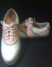 Top Flite Premium Ladies Golf Shoes Size 8 W Leather Uppers Soft Spike W/Kilties