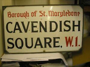 Original London Street Sign for CAVENDISH SQUARE W1.
