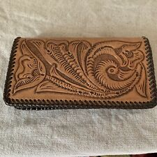 Hand Tooled Leather Checkbook Cover Wallet Western Q.L. Germaine