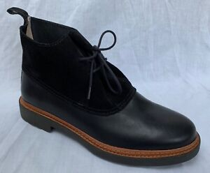 BNIB Clarks Ladies Trace Fawn Black Leather & Suede Ankle Boots