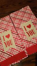 NEW 2 PACK WOVEN 100% COTTON I LOVE YOU PLAID HEART KITCHEN TOWELS VALENTINE