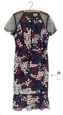 Phase Eight MARILYN Black Embroidered Floral Peplum Dress, Size UK 14, Worn Once