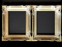 "Frames Picture Gold Wood 2 Whitewashed 16"" Vtg Hollywood Regency Mid Century"