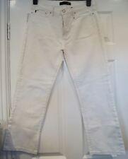 Just CAVALLI blanco 100% Algodón Informales Pantalones de cultivo Capri Jeans Pantalones 31/45