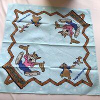 Rare Vintage Disney Splash Mountain Blue Handkerchief Brer Rabbit Bear Fox
